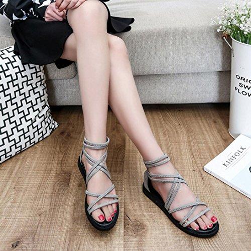 Transer ® Fashion femmes Bandage Bohême été loisir sandales tongs Gris