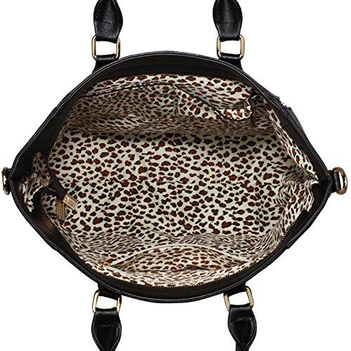 LeahWard® Tragetaschen Zum Damen mode Qualität Herrlich Kunstleder Berühmtheit Stil Vorhängeschloss Tasche Damen Schnell verkaufend Handtasche CWS0031A CWS0031L L-Schwarz/Weiß (33x14.5x30cm)