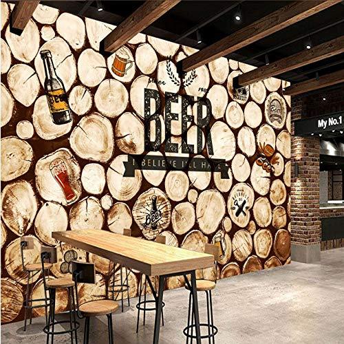 Lxsart Tapete Retro Nostalgic Roundwood Coffee Bar KTV Hintergrundbild Wohnzimmer Restaurant Dekoration Tapete-350cmx245cm