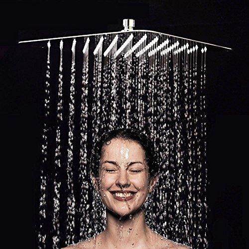 XXL Regendusche Duschkopf Edelstahl Regenbrause Anti-Kalk-Düsen Duschkopf Wasserfall Quadratisch Regenduschkopf 30 cm