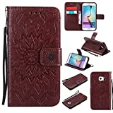 Phone Cases Covers, Für Samsung Galaxy S6 Rand Fall, Sun Flower Printing Design PU-Leder Flip Wallet Lanyard Schutzhülle mit Kartensteckplatz/Ständer für Samsung Galaxy S6 Edge (Color : Braun)