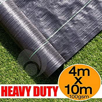 Yuzet 4m x 25m 100gsm Ground Cover Weed Control Fabric Driveway Membrane Mulch