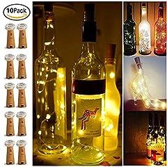 Idea Regalo - 【10 pezzi】 SiFar 20 LED 2M Luce bottiglia Bianco caldo, Luci stringa LED Luci d'atmosfera Bottiglia di vino Mini filo di rame, Luci stellate alimentate a batteria per bottiglie Fai da te, feste