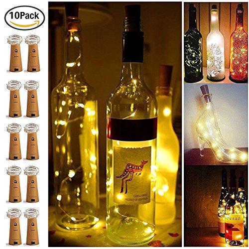 【10 Stück】SiFar 20 LEDs 2M Flaschen-Licht Warmweiß, LED Lichterketten Stimmungslichter Weinflasche Mini Kupferdraht, batteriebetriebene Sternenlichter für Flasche DIY, Party, Dekor, Weihnachten, Halloween, Hochzeit oder Stimmung Lichter