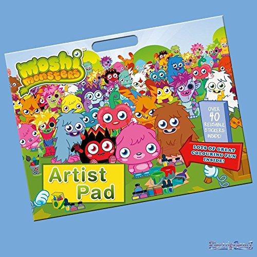 Kostüm Färbung Buntstifte - B-Creative Moshi Monsters Riese Art Artist Pad-A3 Malbuch mit Buntstiften und Aufklebern