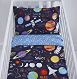 Reversible Planets Cot Duvet Cover and Pillowcase Set - 90cm x 120cm