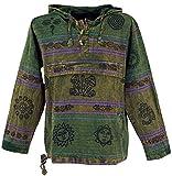 Guru-Shop Goa Kapuzenshirt, Baja Hoody Nepalhoodie, Herren, Olive, Baumwolle, Size:M, Sweatshirts & Hoodies Alternative Bekleidung