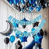 PuTwo LuftballonsBlau,55 Stück Satz vonLuftballons SchwarzLuftballons Blau Ballons Silber, LatexballonsFolienballon für Party Deko Schwarz, Dekoration Silber, Deko Taufe, Dekoration Geburtstag