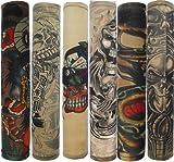 Autek Pack 6 mangas de tatuajes temporales. Disfraces originales para Haloween, fiestas de disfraces, carnaval. Mangas de tattoo temporales