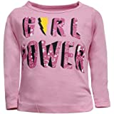 Hopscotch Eteenz Girls Cotton Full Sleeves Text Printed T-Shirts in Pink Color