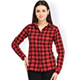 DAMEN MODE Women's Red and Black Cotton Classic Collar Smart Trendy Checkered Shirt