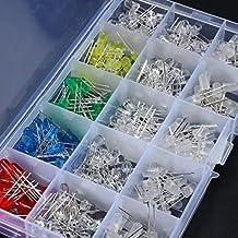 Elfeland 300x 5mm LED-Leuchtdioden Rund 2 Pin Rot Grün Blau Gelb Weiß Diode Kit mit 3 Verschiedenen Gehäusen (60er Jede Farbe)