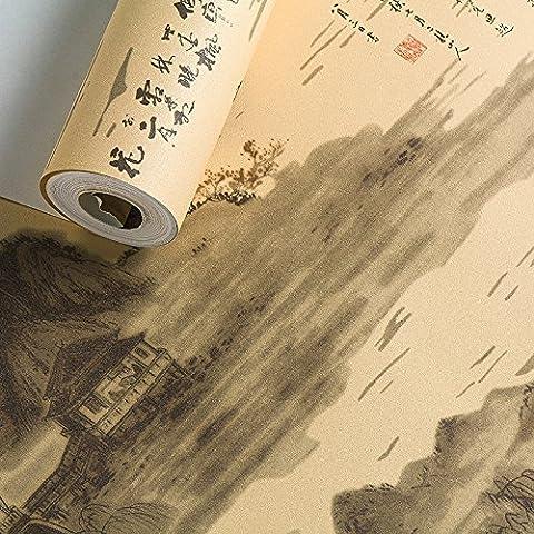 FUMIMID Chino clásico paisaje pintura tinta # estudio té habitación fondos fotos y fondo de pantalla de televisión , yellow
