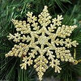 12 x Brillo Dorado Copo de nieve Forma Colgante árbol de NAVIDAD Adorno Decoración Para Ventana Navidad Accesorios
