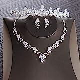 Zirkonblatt Brautschmuck Set Strass Diadem Diademe Krone Halsreif Halskette Ohrringe Hochzeit Luxus Schmuck