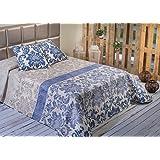 Algodón Blanco Oliva - Colcha bouti estampada, para cama de 135 cm, 235 x 270 cm, 2 fundas de cojín, 60 x 60 cm, color azul