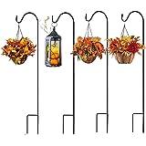 KSS – Lot de 2 crochets de jardin en métal avec crochet pour lampes solaires, lanternes, lumières de Noël, paniers de fleurs,