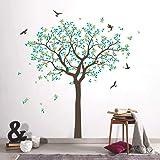 decalmile Pegatinas de Pared Árbol de Familia Vinilos Decorativos Hojas Verdes Aves Adhesivos Pared Salón Dormitorio Oficina