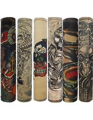Autek men's Manche Manchette Faux Tatouage Bras Tatoo Collant Dessins Set F (Tattoo-6pc-F)