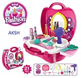 #1: AKSH Girls Bring Along Beauty Suitcase Makeup Vanity Toy Set