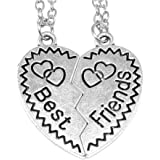 AKIEE pendente collana Best Friends Forever Best Friends BFF Amicizia argento e nero