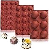 3 Pcs Molde Silicona Semi Esfera, sin BPA, para Hacer Chocolate, Tarta, Gelatina, Pudín, Muffin, Jabón, 6 cavidades, 15 cavid