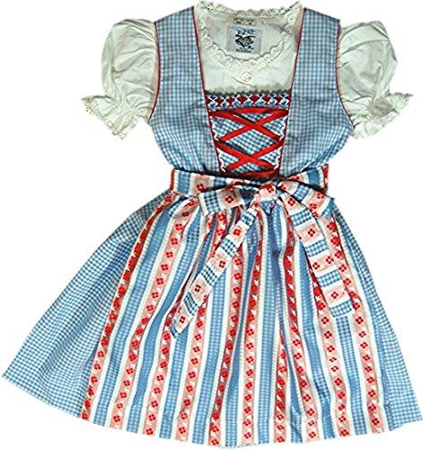 Duftiges Kinderdirndl MELLI hellblau kariert 3tlg-Komplettset inkl. Bluse, Farben:hellblau;Größen:116