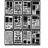 NBODY 12 Stück Zeichenschablonen, Kunststoff Zeichnung Skala Vorlage Sets Grafiken Schablonen für Bullet Journal Scrapbooking