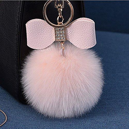 OSYARD Schlüsselanhänger,Keychain,Elegant Plüsch Ball Schlüsselanhänger Weich Keyring Rucksäcke Handtaschenanhänger Dekor Zubehör Fellbommel Schlüsselring mit Strass -