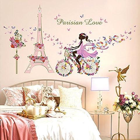 Wallpark Romantique Rose Tour Eiffel Fée Fille sur Fleurs Papillons Vélo Amovible Stickers Muraux Autocollants, Enfants Bébé Chambre Pépinière DIY Décoratif Adhésif Stickers