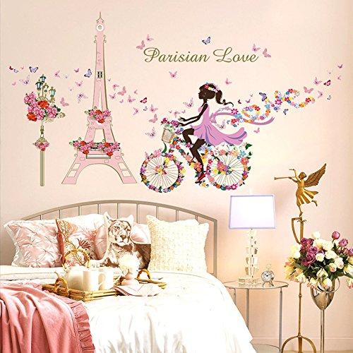 Wallpark Romantisch Rosa Paris Turm Fee Mädchen auf Blumen Schmetterlinge Fahrrad Abnehmbare Wandsticker Wandtattoo, Kinder Kids Baby Hause Zimmer Kinderzimmer DIY Dekorativ Kunst Wandaufkleber