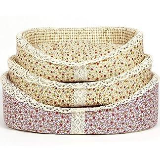 Bunty Blossom Dog Bed Soft Washable Flower Fabric Cushion Warm Pet Basket - Cream - Large 11