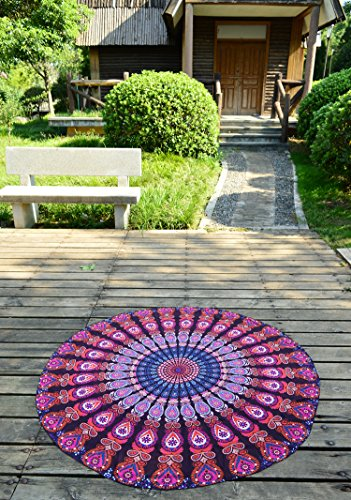 Riesen Auswahl - Sarong Pareo Wickelrock Rund Strandtuch im Mandala Design Handtuch Strandlaken Roundie Duschtuch Badetuch Modell F