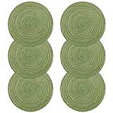 U'Artlines 6er Set Platzsets Hitzebeständigen Waschbaren Woven Vinyl Tischsets Rutschfest Rund (rund, grün)