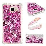 E-Mandala Samsung Galaxy A3 2016 Hülle Glitzer Flüssig Liquid Glitter Case Cover Handyhülle Schutzhülle Transparent mit Muster Durchsichtig Tasche Silikon - Blumen Sakura Cherry Blossom Rosa Pink