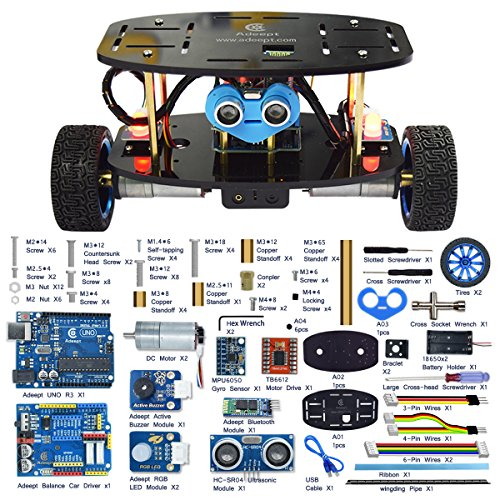 Adeept 2-Wheel Self-Balancing Upright Car Robot Kit for Arduino UNO R3, MPU6050 Accelerometer Gyroscope Sensor + TB6612 Motor Driver, Obstacle Avoidance + Android APP Remote Control, Robot Starter Kit Remote-starter-app