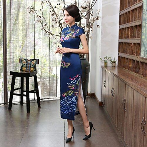 ACVIP Retrò Migliorato Cheongsam Lungo Vestito Aderente Stile Cinese Blu scuro