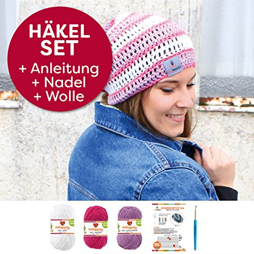 myboshi Mützen Häkelset Sommer Beanie Iga (85% Baumwolle 15% Kapok) Anleitung + Häkelgarn + selfmade Label Farben (magenta, weiß, candy, mit Häkelnadel)