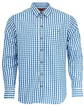 Maddox Slim Fit Trachtenhemd Niels - Blau Weiß - Kariertes Herren Oberhemd