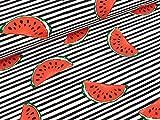 Swafing Baumwolljersey Jonne Melonen auf schwarz-weiß