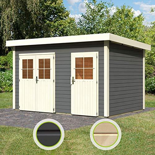 *HORI Karibu Gartenhaus Tintrup 2-Raum-Haus Natur 28 mm*