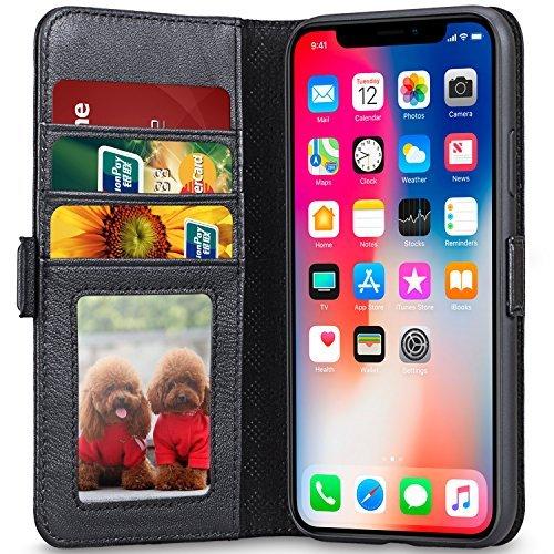 lopie iPhone X Hülle, [All-in-One Series] iPhone X Echt Leder Tasche [Integrierter Aufstell Funktion und Portmonee Kartenfach] Flip Brief Tasche Schutzhülle für iPhone X Case Cover - Schwarz
