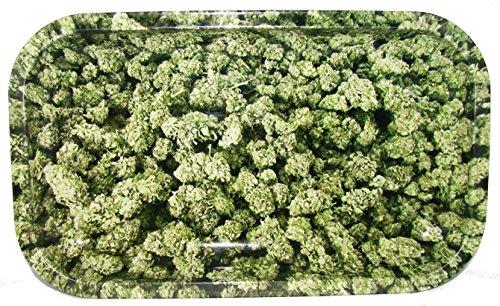 Rolling Tray - Buds - Hanpfblüten - 270x160x20mm, Bröselschale, Mischeschale