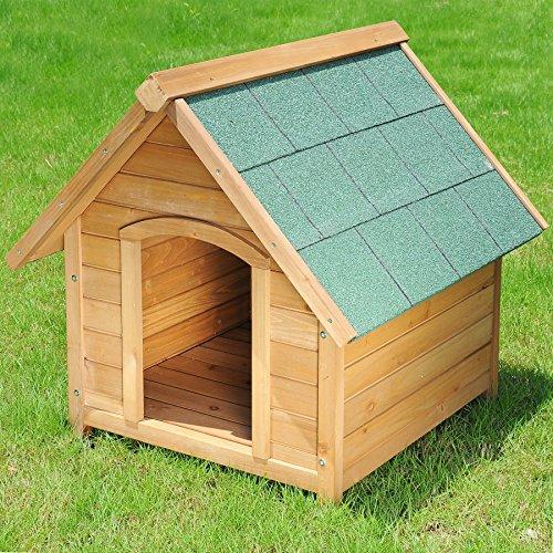 Hundehütte Spitzdach Massiv Holz Hundehaus Wetterfest Hunde Haus Hütte 76x76x72cm HT2022 - 4