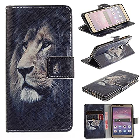 Huawei Honor 8 Case Cover [Anti-Scratch][Waterproof], Cozy Hut Practical Fashionable Creative Retro Patterns PU Folio Leather Wallet Designer Flip Magnetic with [Wrist Strap] and [Card Holder Slot] Shock Absorber Full Body Protection Holster Case Cover Skin Shell for Huawei Honor 8 5.2inch - Lion king