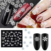 VANKER 6 Hojas 3D Pegatinas Decoracion para Las uñas Diseño de Copos de Nieve de Navidad
