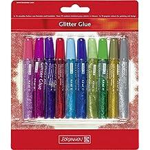 Brunnen 1048550 - Bolígrafo de tinta con purpurina (1 mm, 10 colores)