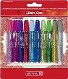Brunnen 1048550 Glitter Glue Set (10 Farben à 9,5 ml, mit Glitereffekt)