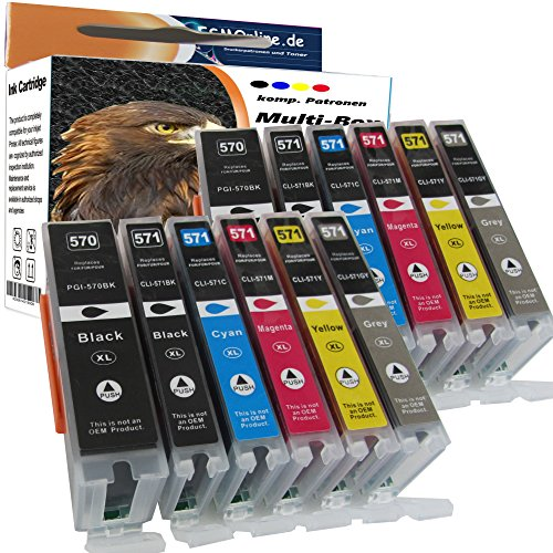 ESMOnline 12 komp. XL Druckerpatronen für Canon Pixma TS8050 TS8051 TS8052 TS8053 TS9050 TS9055 mit grau 2 x schwarz 2 x photoschwarz 2 x blau 2 x rot 2 x gelb 2 x grau