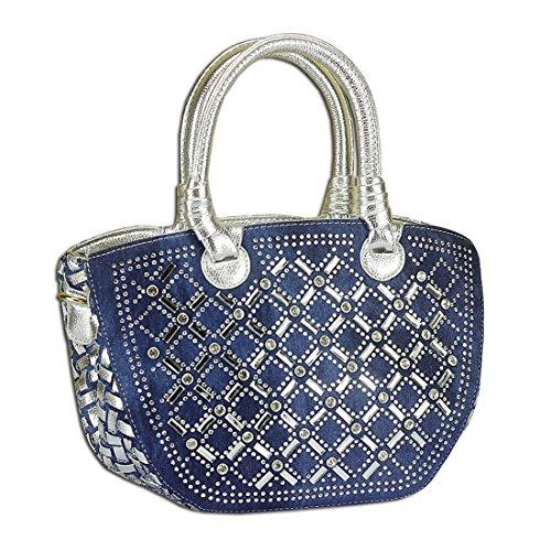 KAXIDY Damen Denim Schultertaschen Henkeltaschen Damentasche Schultertaschen Handtasche Denim Blue+ PU Silber